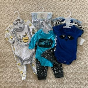 0-3m bundle-matching outfits, onesies, burp cloths